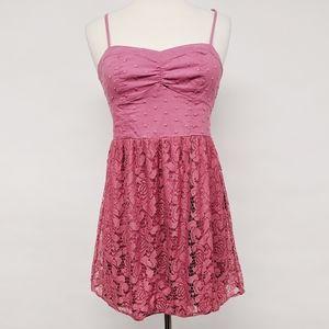 american eagle | pink smocked lace sundress sz S